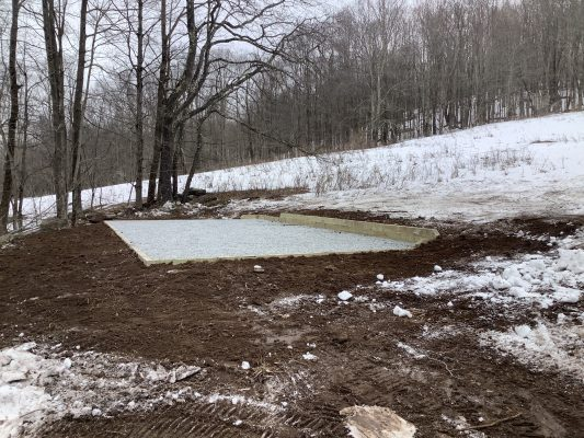A gravel shed foundation in Bovina NY