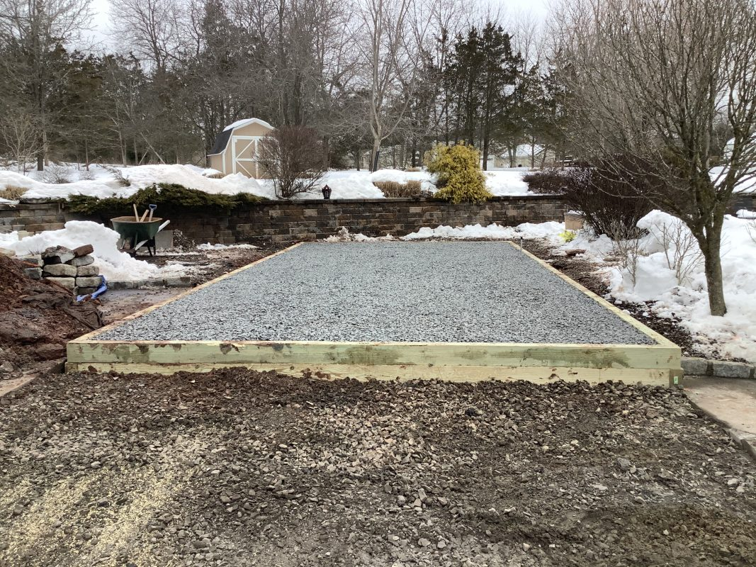 A gravel shed foundation in Bridgewater NJ