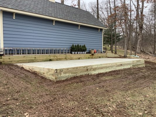 A gravel shed foundation in Cedars PA