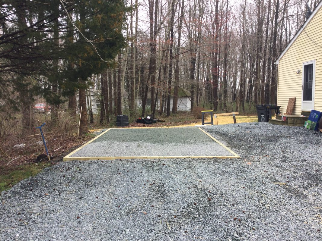 A gravel shed foundation in Chestertown MD