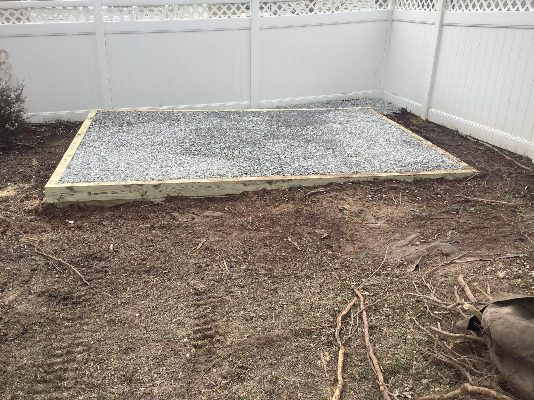 A gravel shed foundation in Clinton MD