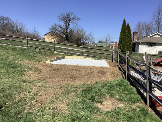 A gravel shed foundation in Coatesville PA