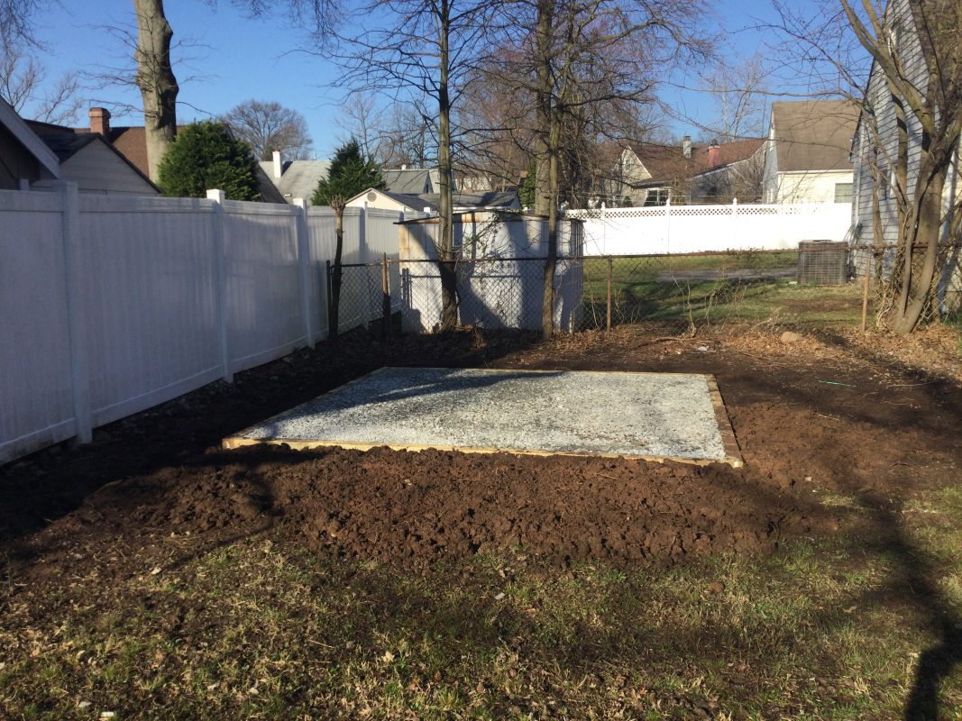 A gravel shed foundation in Colonia NJ