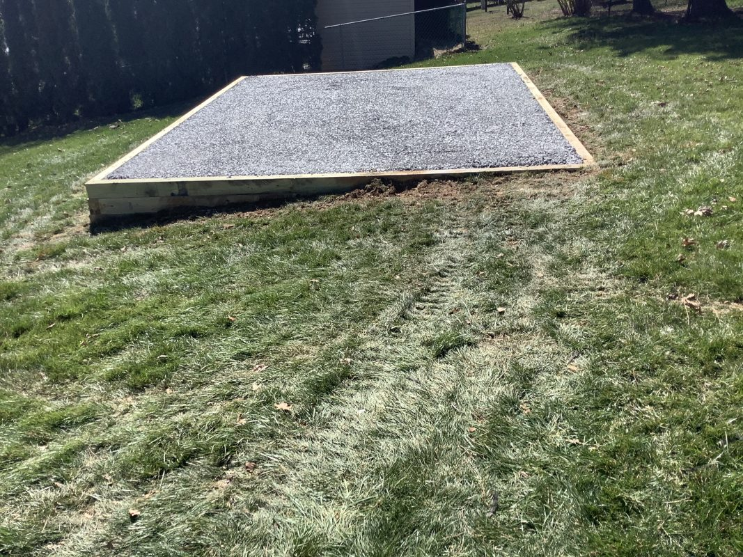 A gravel shed foundation in Dallastown PA