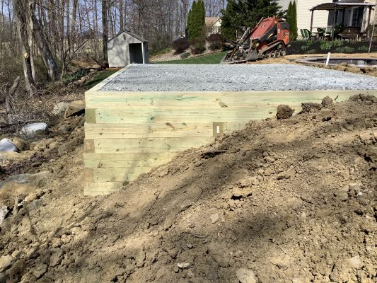 A gravel shed foundation in Douglassville, PA