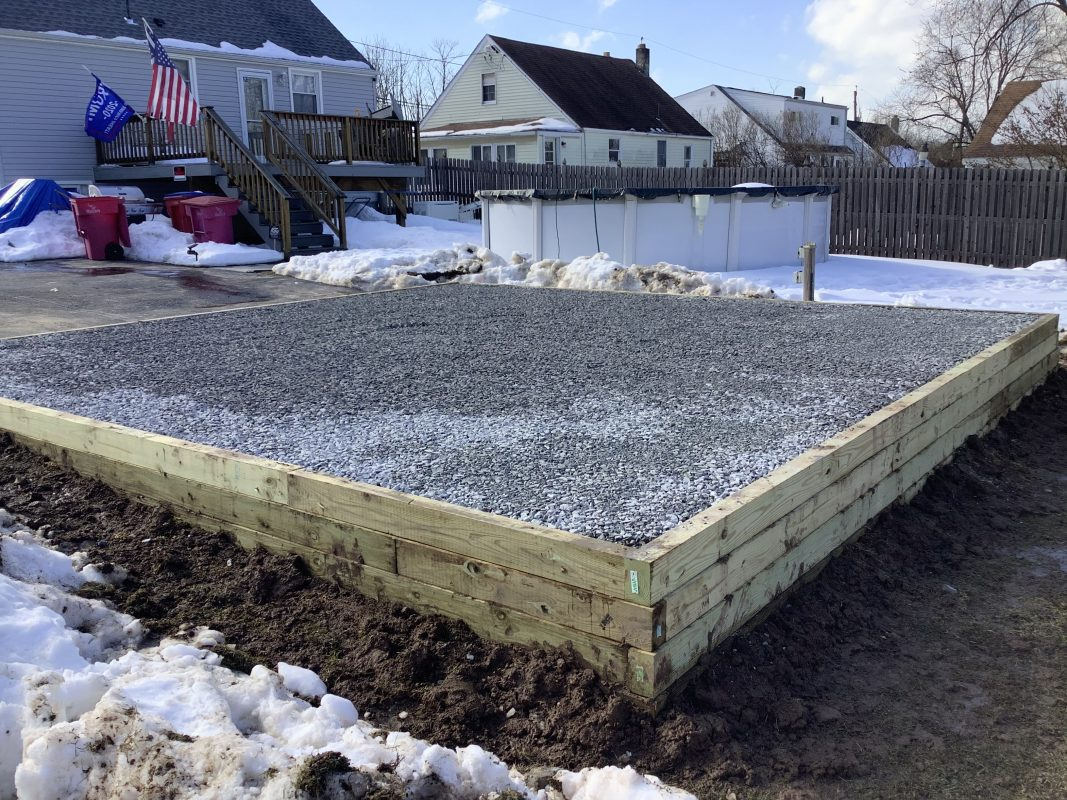 A gravel shed foundation in Eagleville PA