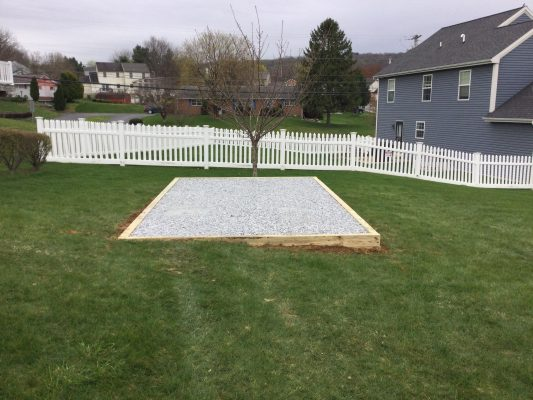 A gravel shed foundation in Ephrata, PA