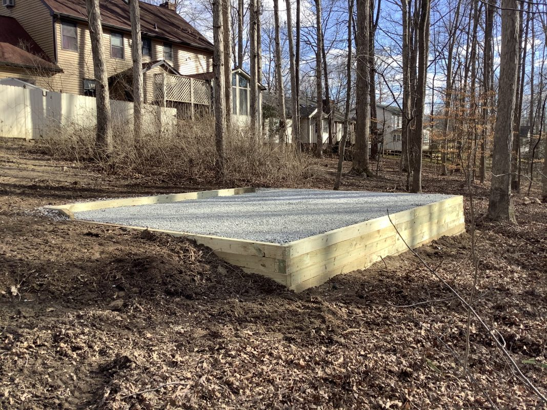 A gravel shed foundation in Fredericksburg VA