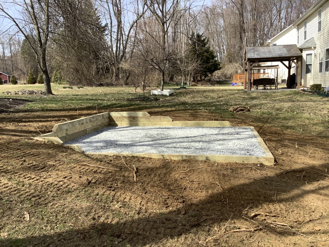 A gravel shed foundation in Garnet Valley PA