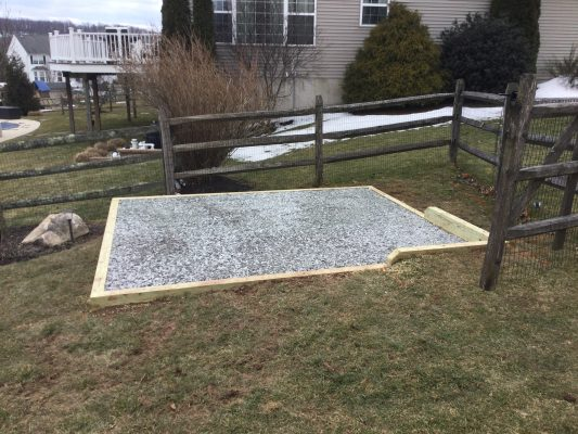A gravel shed foundation in Gilbertsville PA