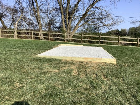 A gravel shed foundation in Hunt Valley, MD
