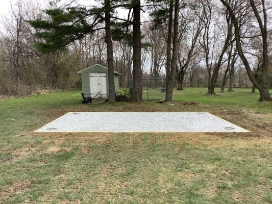 A gravel shed and concrete piers foundation in Jamison, PA