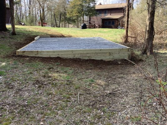 A gravel shed foundation in Lambertville, NJ