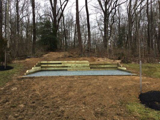 A gravel shed foundation in Marlboro MD