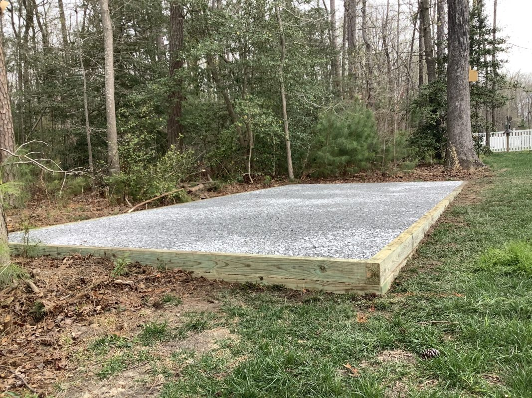 A gravel shed foundation in Milton DE