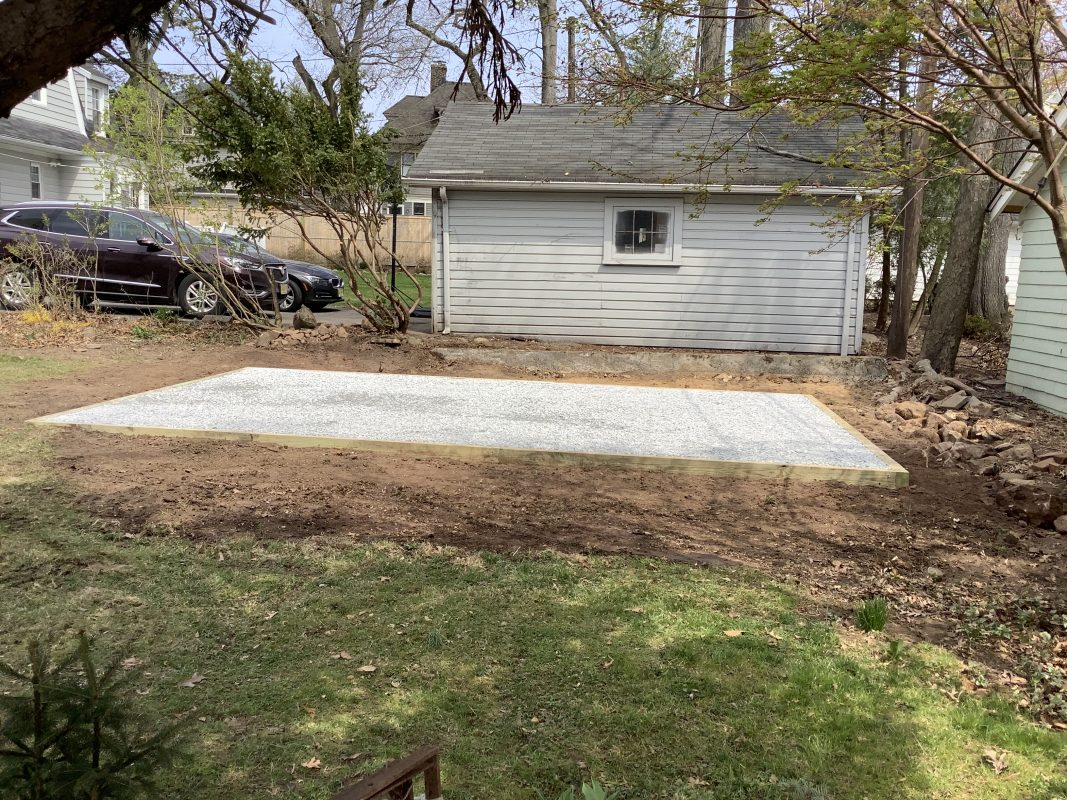 A gravel shed foundation in Montclair, NJ