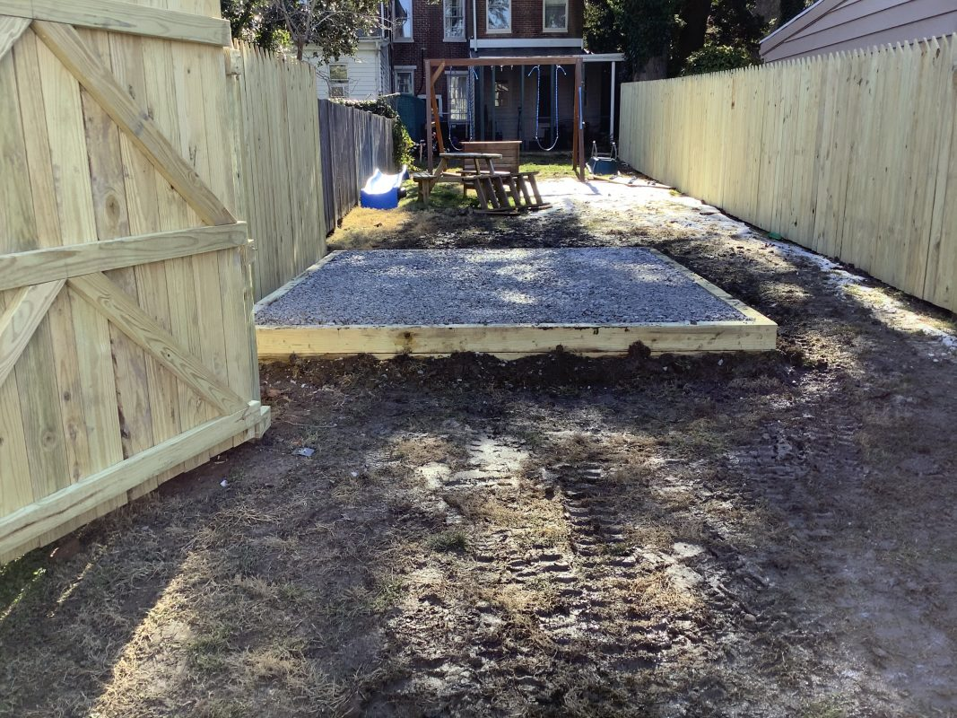 A gravel shed foundation in New Castle DE