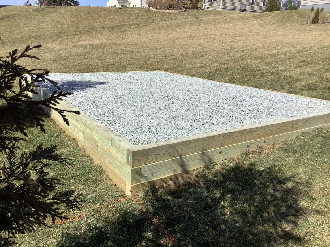A gravel shed foundation in New London Township PA