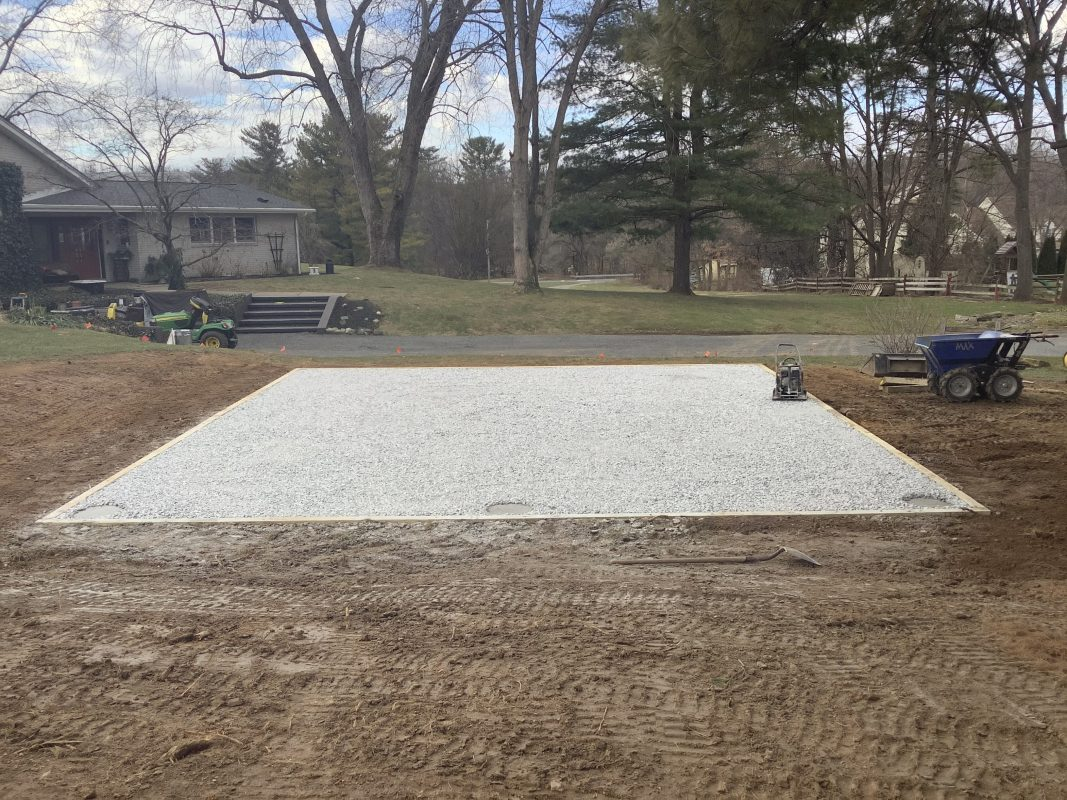 A gravel shed foundation in Bethlehem PA