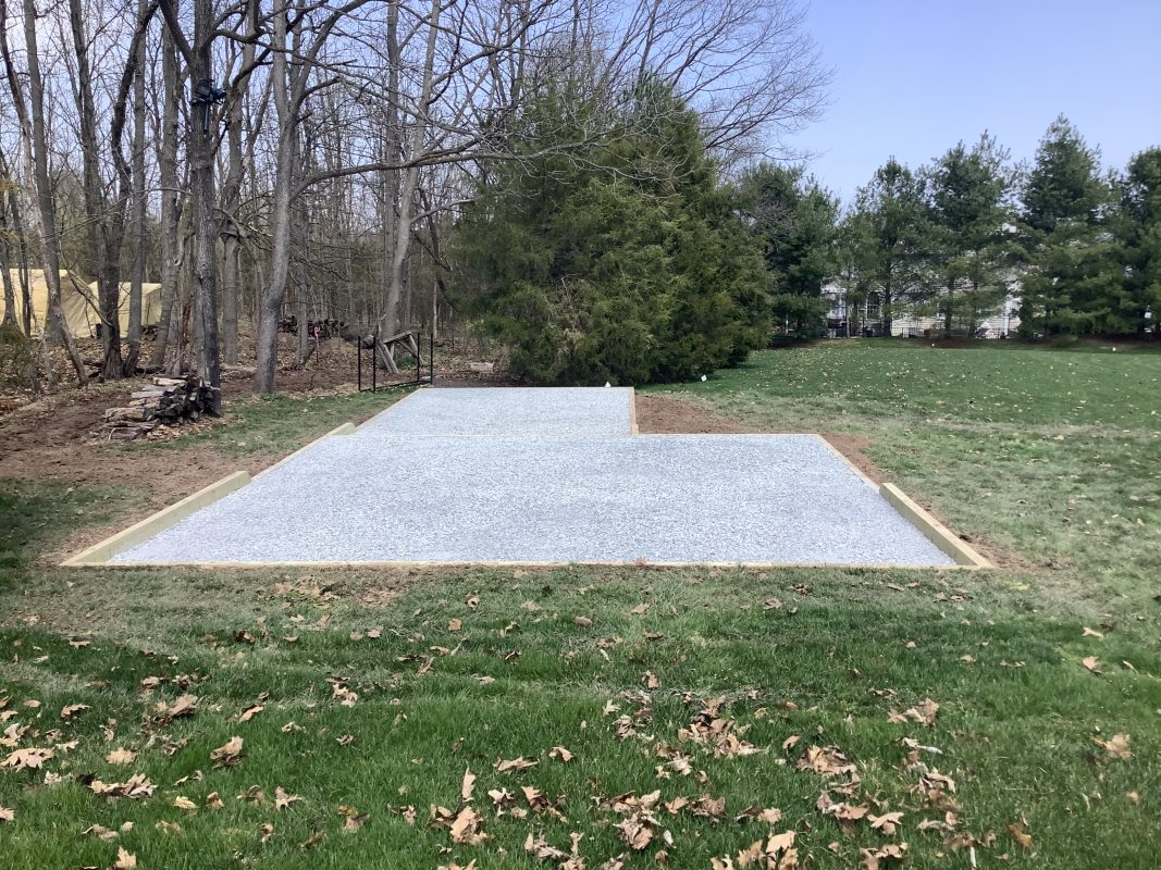 A gravel shed foundation in Perkasie, PA