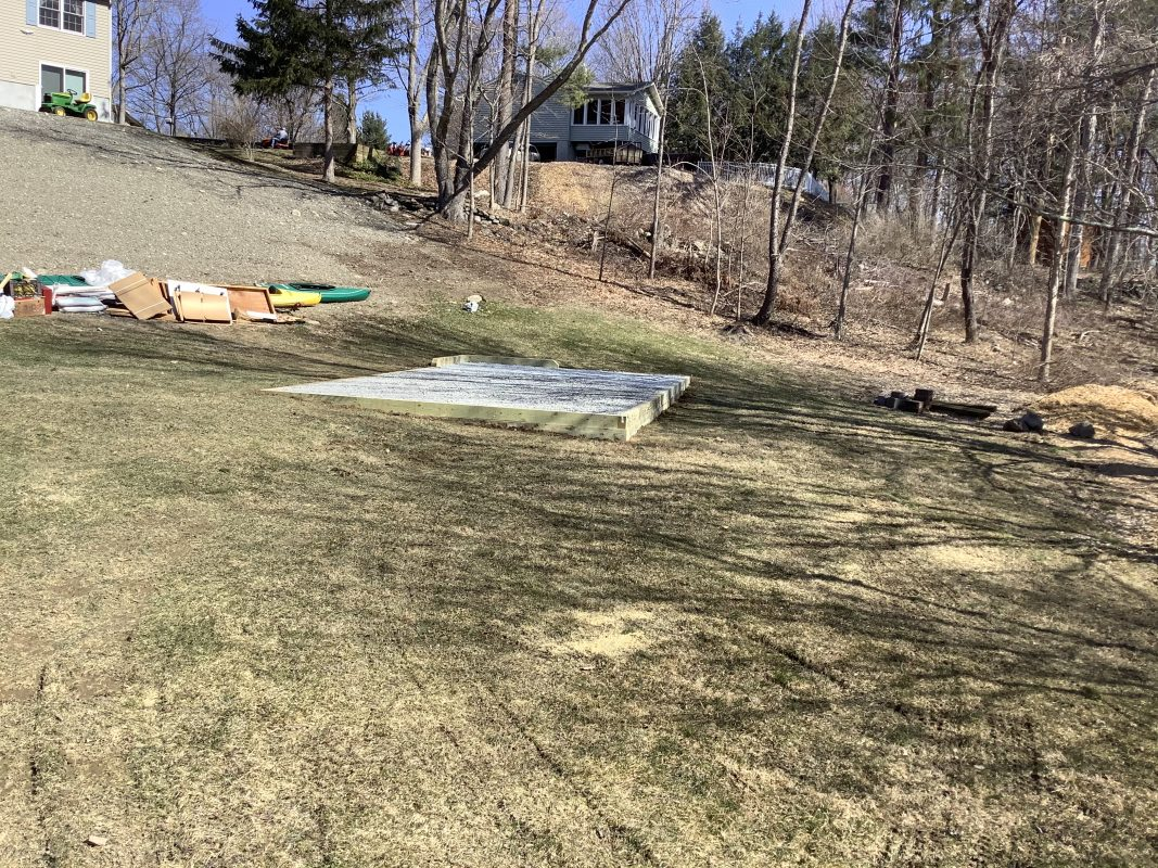 A gravel shed foundation in Pleasant Valley NY