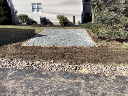 A gravel shed foundation in Reading PA