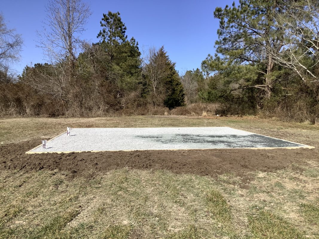 A gravel shed foundation in Salisbury MD