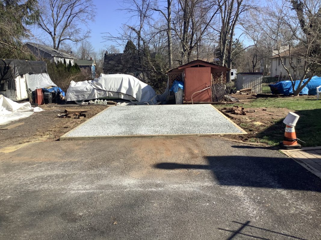 A gravel shed foundation in Somerset NJ