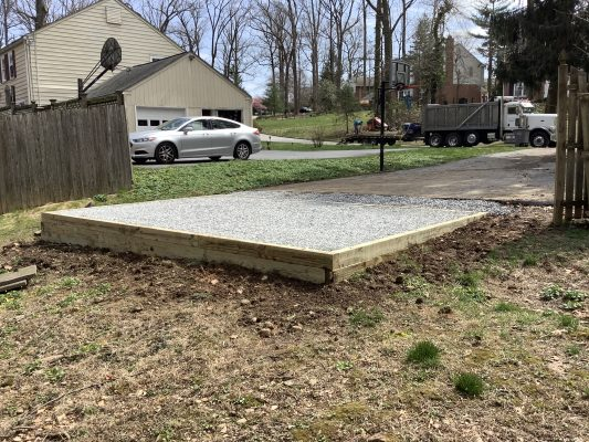 A gravel shed foundation in Wayne PA
