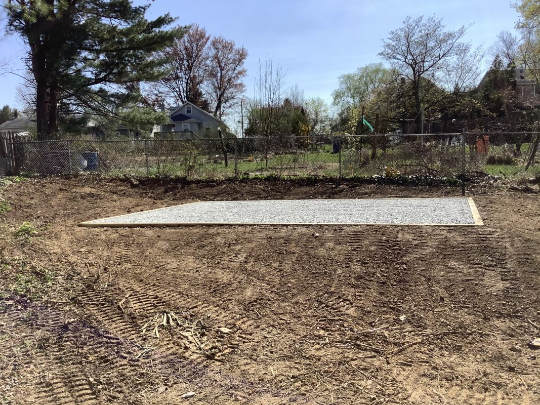 A gravel shed foundation in Willow Grove, PA