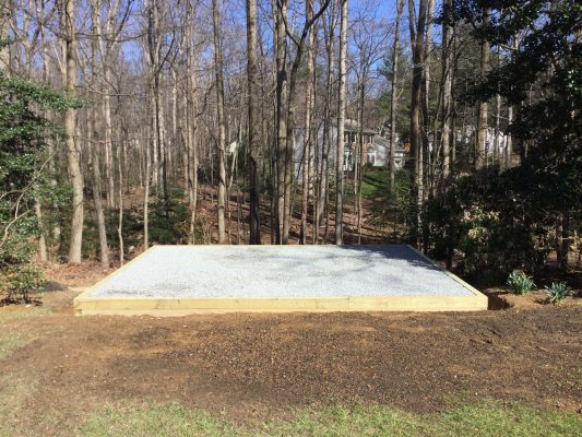 A gravel shed foundation in Oakton VA