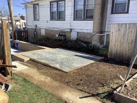 A gravel shed foundation in West Chester PA