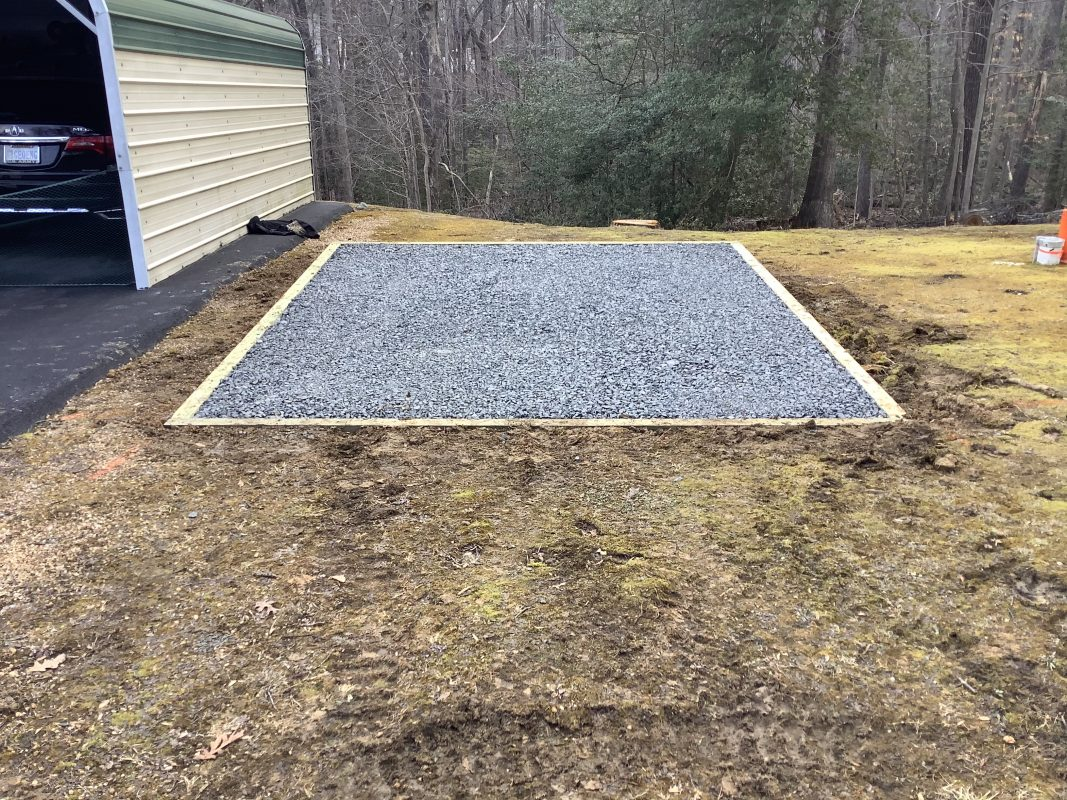 A gravel shed foundation in Stanford VA