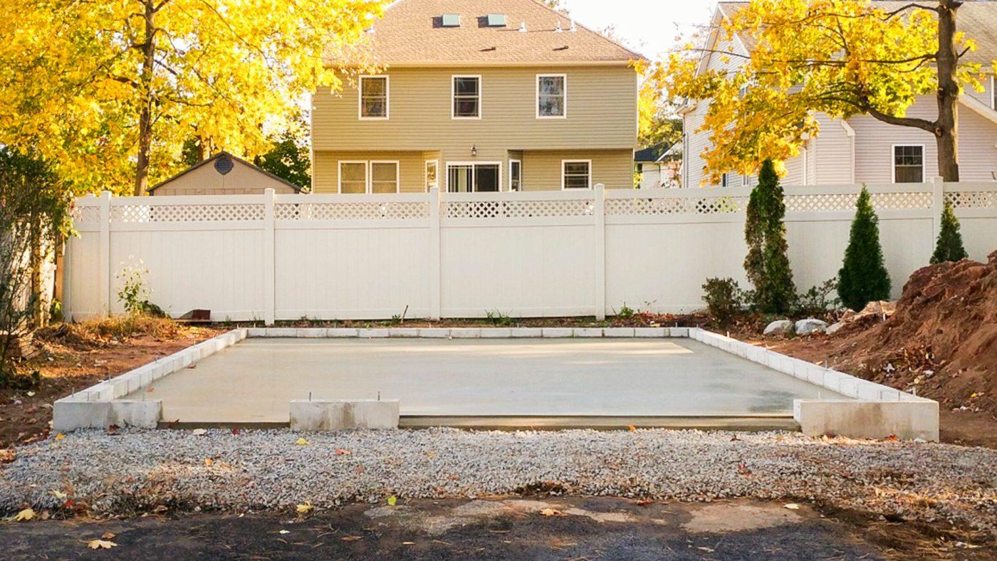 A concrete garage foundation built in PA, NY, NJ, MD, VA, DE, CT, or WV