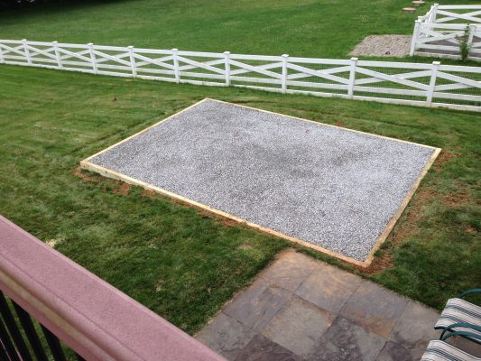Gravel pad for a shed in Coatesville, PA