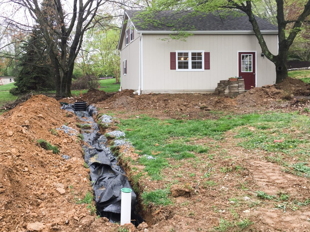 Shed seepage bed under construction