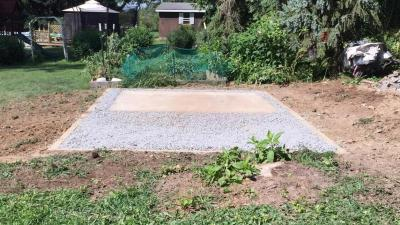 Gravel shed foundation installed in Columbia, PA