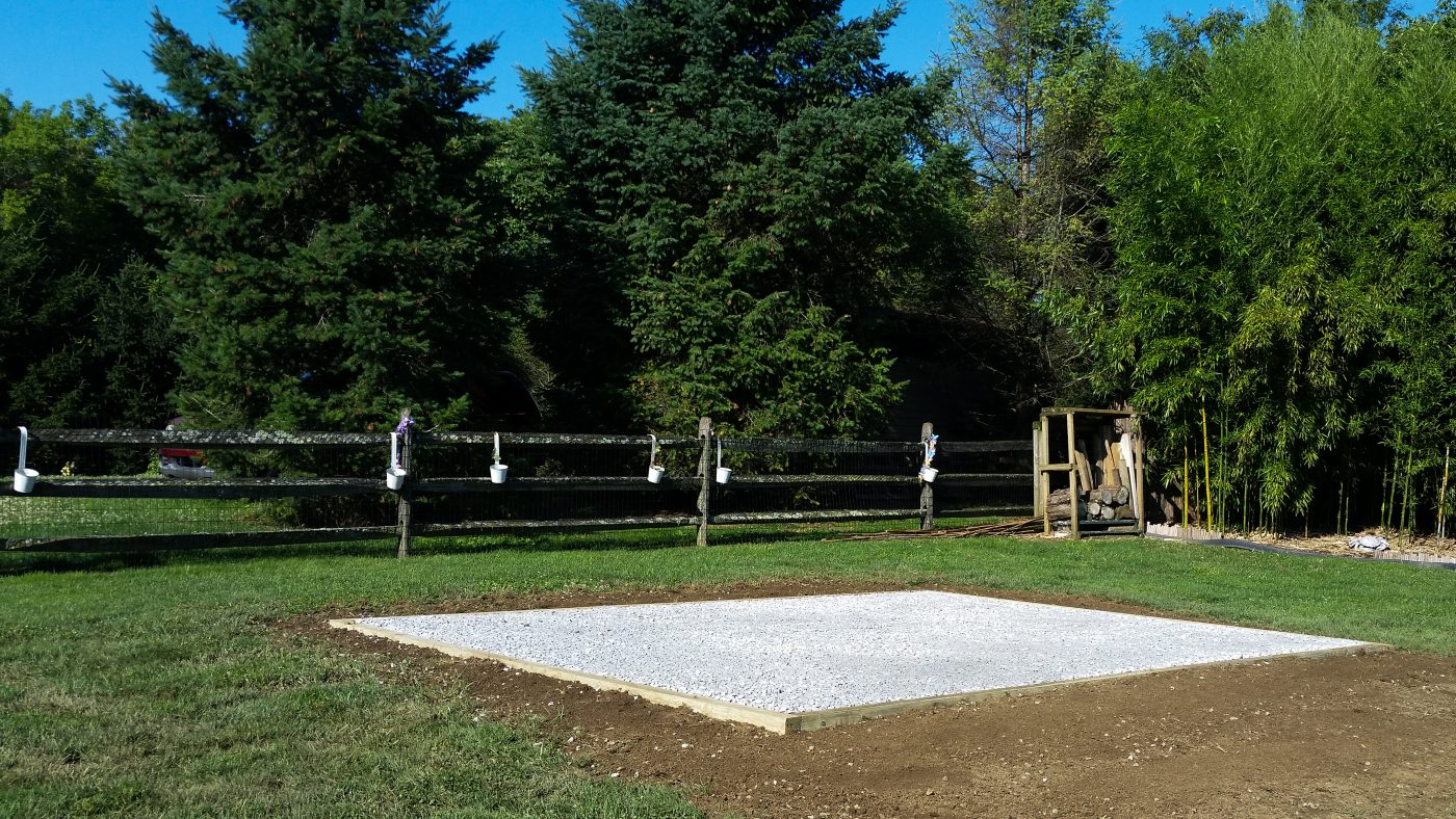A completed shed foundation by a site preparation contractor in PA