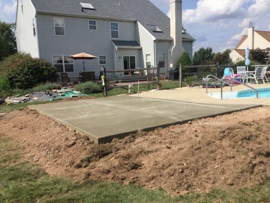 """A concrete shed foundation in Gilbertsville, PA"""