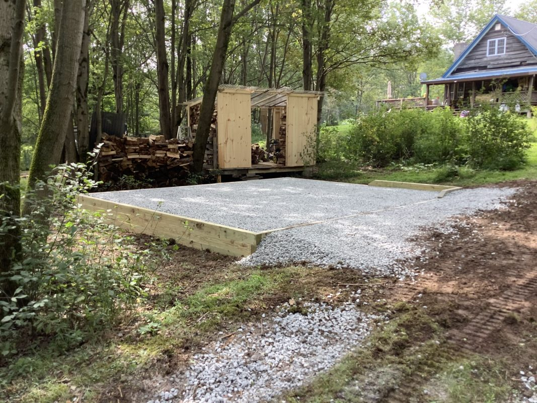 """A gravel shed foundation in Livingston, NY"""