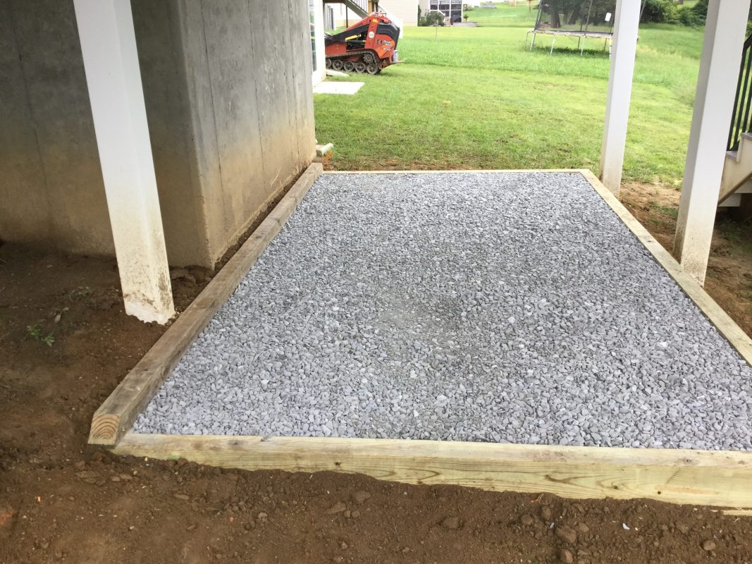 """A gravel shed foundation in Avondale, PA"""