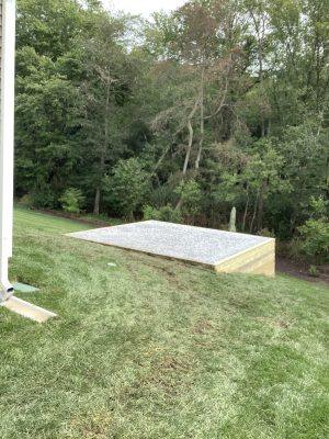 """A gravel shed foundation in Milton, DE"""