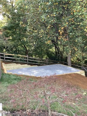 """A gravel shed foundation in Chester Springs, MD"""