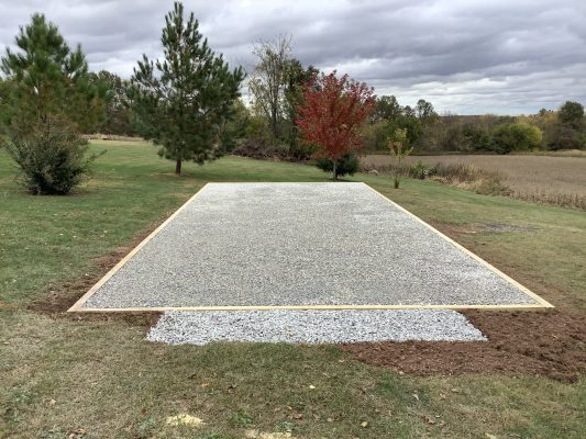 """A gravel shed foundation in Hanover, PA"""