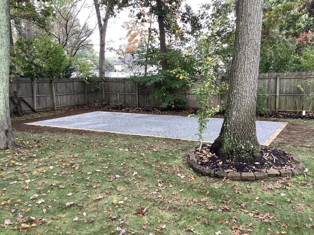 """A gravel shed foundation in St. James, NY"""