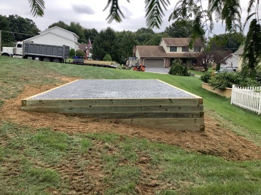 """A gravel shed foundation in Lebanon, PA"""