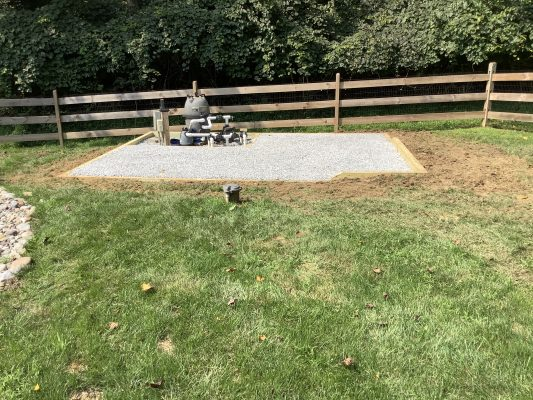 """A gravel shed foundation in Kennett Square, PA"""