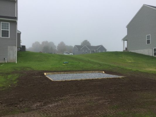 """""""A gravel shed foundation in Barto, PA"""""""