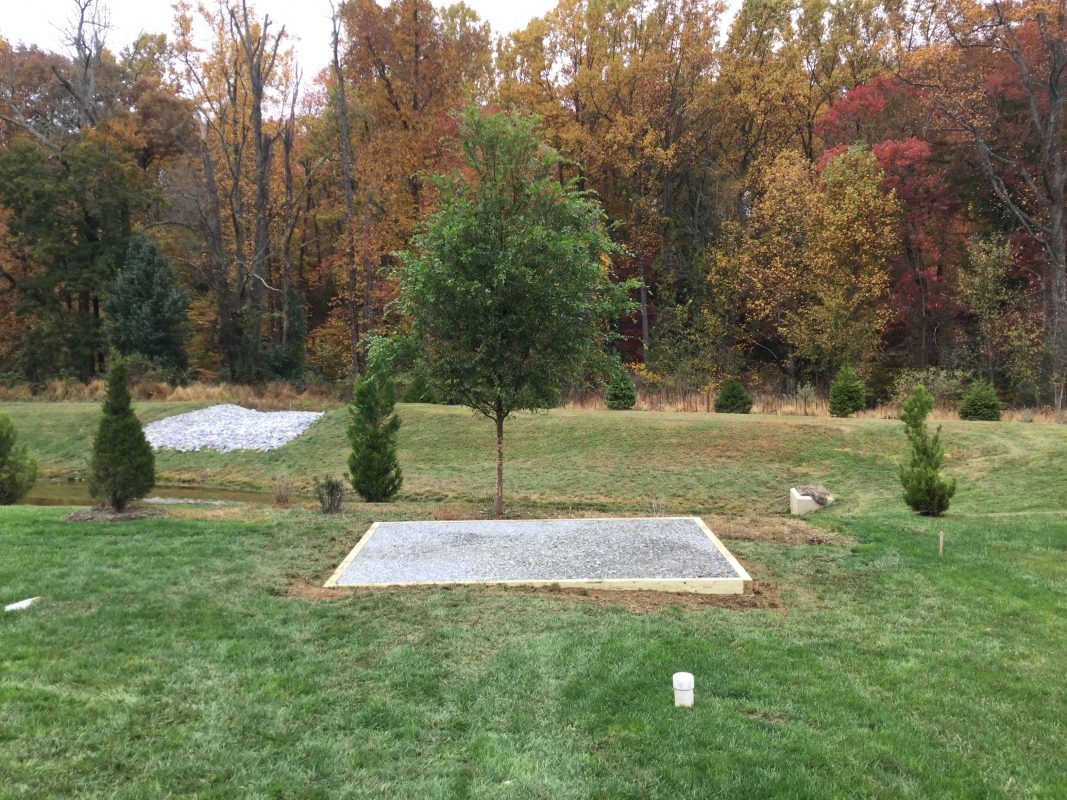 """A gravel shed foundation in Downingtown, PA"""