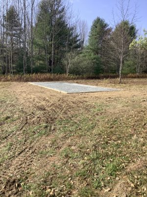 """A gravel shed foundation in Spencer, NY"""